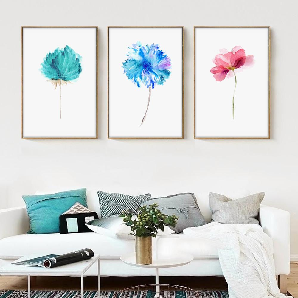 poésie élégante aquarelle belles plantes fleurs fleurs roses peinture sur toile maison mur image affiche d'impression art décoration moderne
