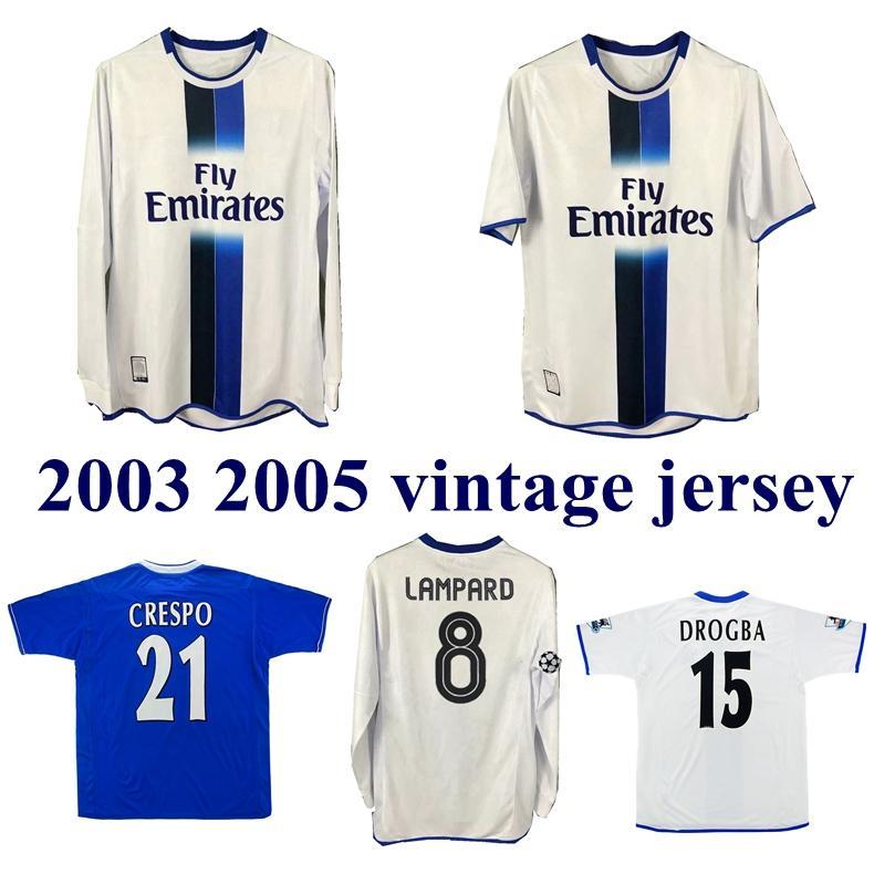 2003 2005 LAMPARD Jersey GUDJOHNSEN VERON Mutu Drogba Crespo Hasselbaink Zola retro del fútbol 03 05 TERRY ROBBEN camiseta de fútbol de época clásica