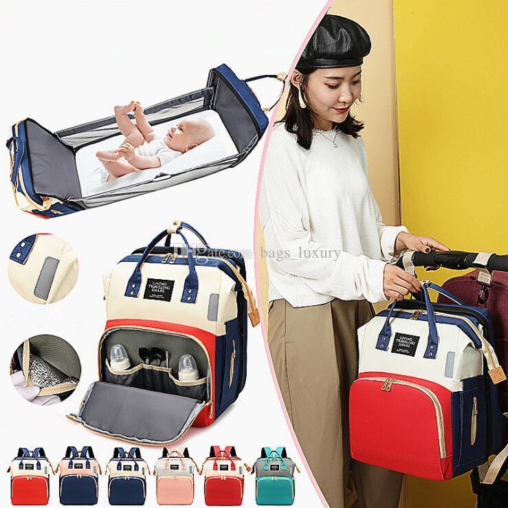 Пеленки сумка Многофункциональный Детские Складные кровати Сумки Мамы и папа Рюкзак для беременных Уход сумка сумка коляска Перевозка груза падения