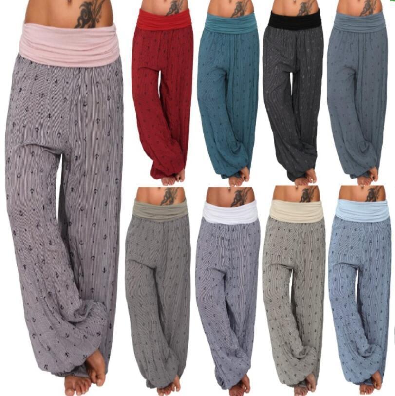 Fashion Frauen Hose mit weitem Bein Casaul lose Harem Pants Striped Printed Kordelzug Hose Sport Yoga Large Size gerade Hose LSK1253