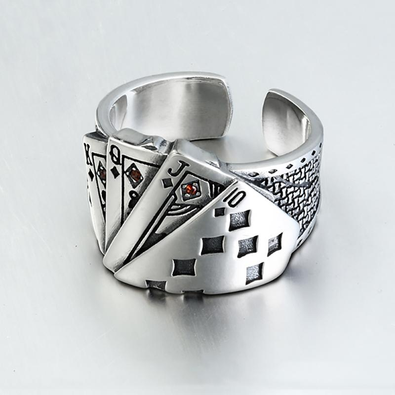 Playing Card Chunky zirconi inciso regolabile 925 Sterling Silver Ring For Men Vintage monili all'ingrosso