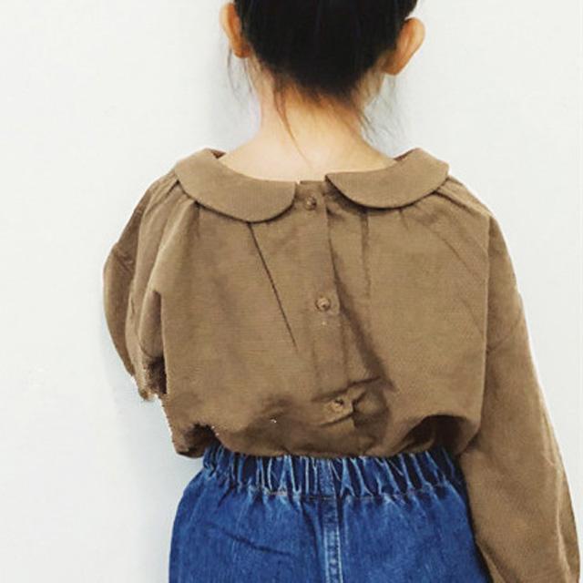 desgaste de los niños coreanos de primavera y otoño niñas camisa linda poco estilo literario collar de la muñeca atada arrugada