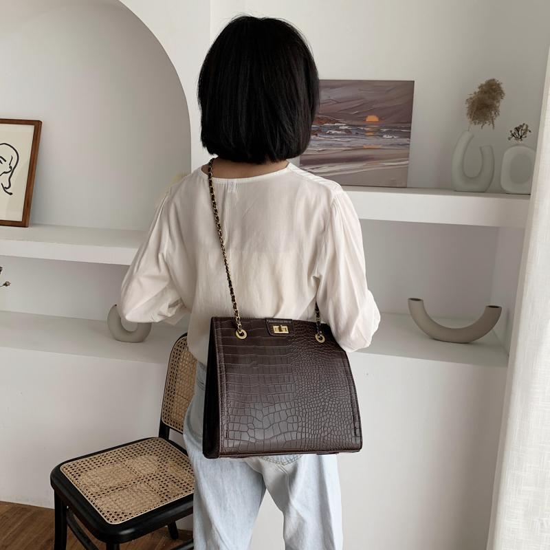 2020 Новый бренд моды класса люкс Крокодил шаблон плече сумка женская кожаная Сумочка продвинутая цепи Crossbody сумка Дизайнер Lady Big Tote