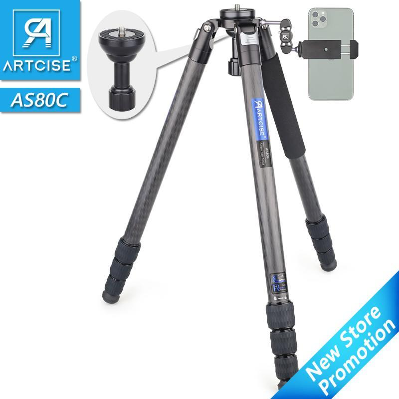 AS80C in fibra di carbonio treppiede Heavy Duty Camera Tripod Ultra Stable professionale Fotocamera Bowl di viaggio leggero
