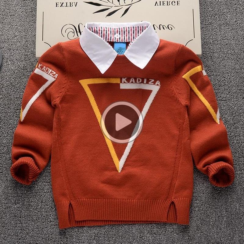 Sonbahar Kış Yeni Gömlek yaka Ekose Çocuk Boys Triko Çocuk Giyim Bebek oğlan Pamuk kalın yün üst Jumper Kazak