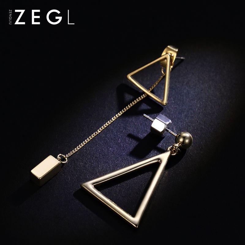 Горячие продажи Корейский темперамент геометрические серьги длинные серьги женской личности простой и универсальный асимметричного треугольника