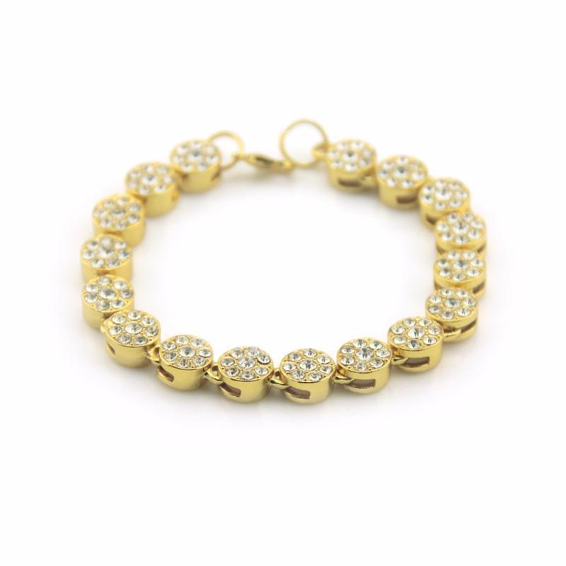 Mens ouro Hiphop pulseira cadeia 1 Row redonda para fora congelado Rhinestone Rosário pulseira flor Drop Shipping