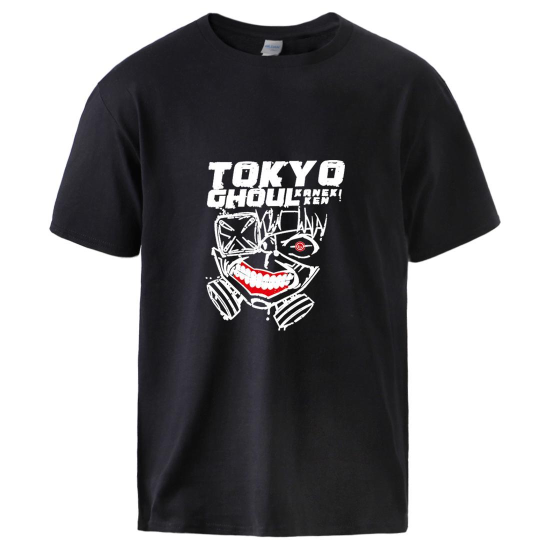 Tokyo Ghoul Print T-Shirts für Männer Sommer Kurzarm Baumwolle T-Shirts 2020 Fashion Mann Hip Hop Street Outwear Schwarz Tops