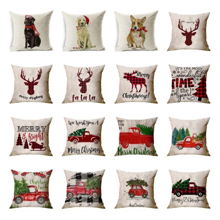 Christmas pillowcase car animal sofa cushion cover Santa Claus pillow case Christmas decoration plaid Pillowcase T2I51533