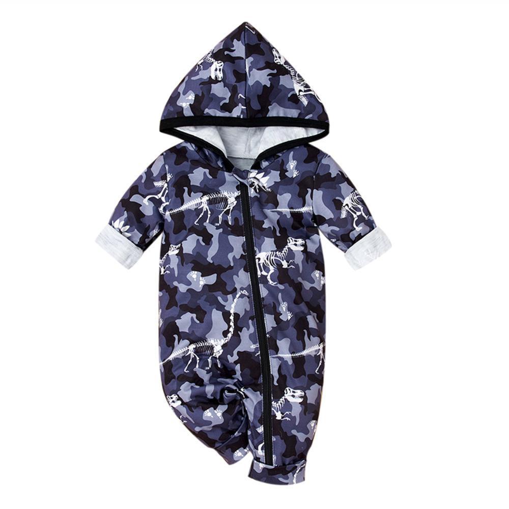 roupas de bebê recém-nascidos, capa com capuz de manga comprida, uma peça set roupas de camuflagem para crianças pequenas