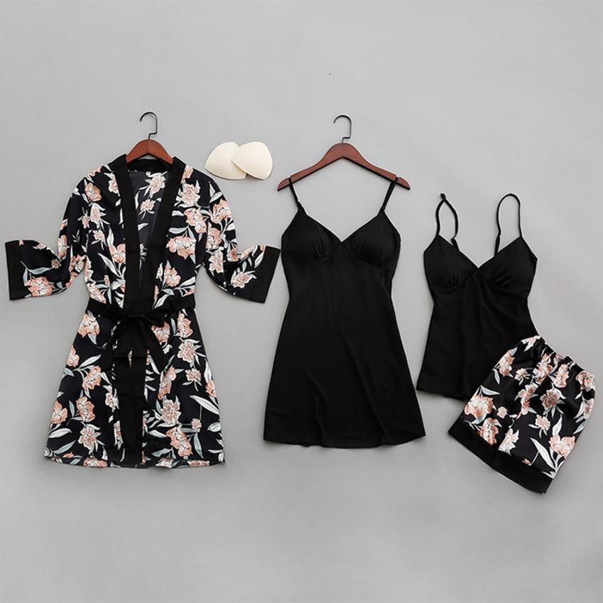Sexy Pigiama di seta con scollo a V per pigiama floreale Set estate 2020 Pigiama Donne Satin Sleepwear Sleepwear Lingerie Pijama Mujer