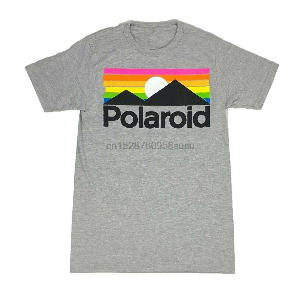 Polaroid Logo Instant Film Camera Mountain Range Mens T Shirt Small X-Large Cotton Customize Tee Shirt