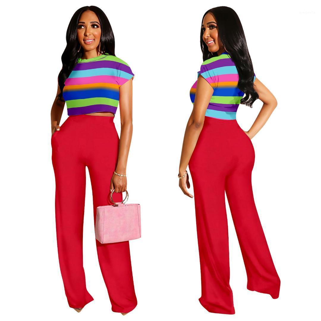 Breve Top pierna ancha pantalones se adapta a chándales manera con los bolsillos Casual Dos conjuntos de piezas para la mujer diseñador de las mujeres de rayas