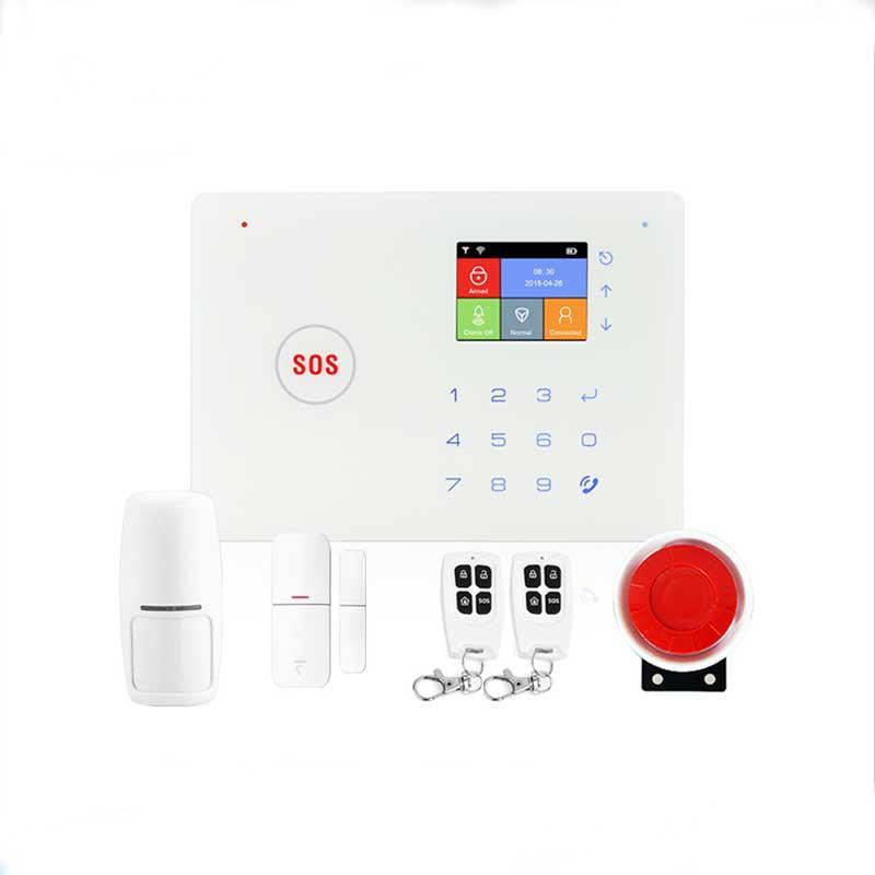 Alarm Sistemleri Kablosuz Akıllı Ev Güvenlik Mobil Uygulama Uzaktan Kumanda Şarj Edilebilir Pil WIFI GSM Sistem Seti Destek İki Yönlü Ses