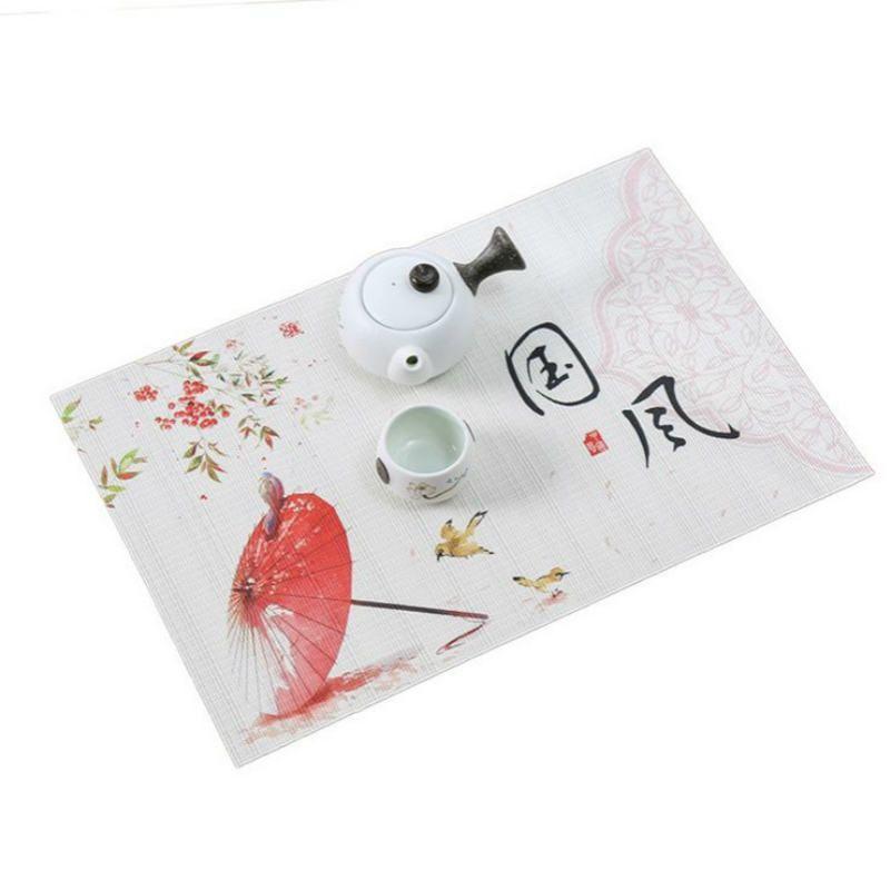 New Printed chinesischen Stil Essen Geschirr PVC Tischset Pad Tischmatte Wärmedämmung nicht Beleg Platzdeckchen Flamingo Bowl Coaster 45 * 30CM