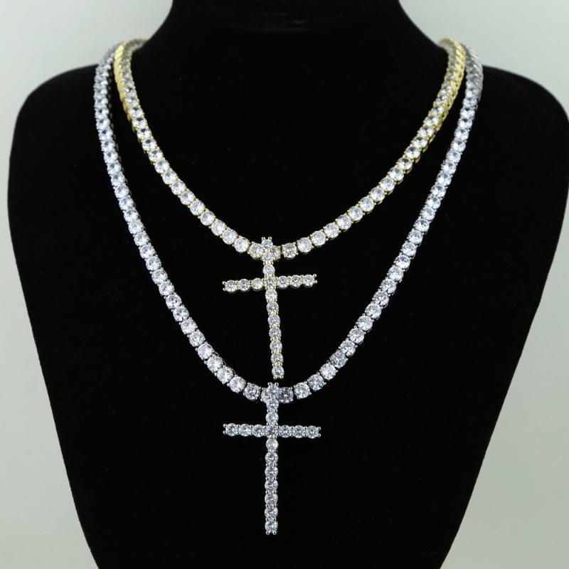 Regalo della collana di Chocker egiziano di stile della catena dell'oro della collana della traversa per gli uomini Hip Hop Pendente Gioielli ghiacciato fuori 5A CZ libera di alta qualità