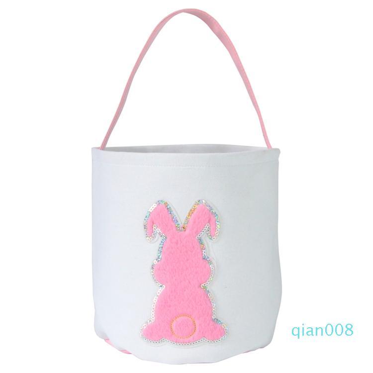Cestas de Pascua Moda Lentejuelas conejito cubo 3D conejo de cola Impreso Lucky cesta del huevo niños bolsos del caramelo del juguete bolsas de almacenamiento regalos de Pascua LXL1261B-2