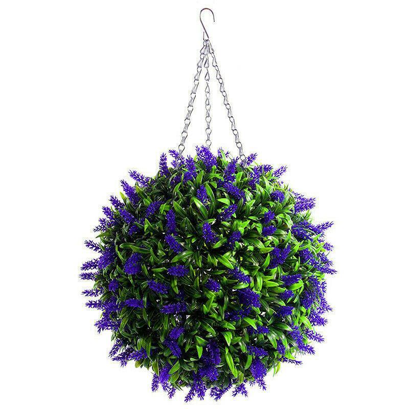 Colgando planta de la flor del Topiary bola lavanda artificial decoración de jardín cesta 25cm