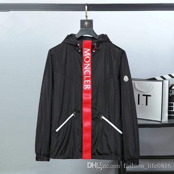 Весна 2020 весной новая мужская мода дизайнер куртки, роскошь MONC черная красная куртка с капюшоном мужской дизайнер балахон ветровка куртка