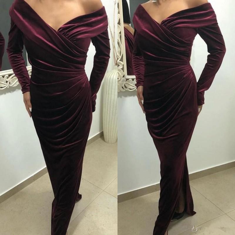 Uzun Kollu Tek Omuz Şarap Kırmızısı Mermaid Abiye Kadife Dantelli Yan Bölünmüş Abiye Giyim Abiye Özel vestidos de fiesta