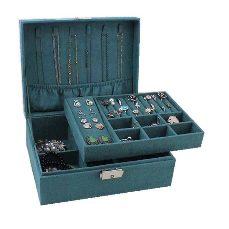 Double-couche verrouillables Boîte à bijoux en bois Capacité Flanelle Bijoux Collier Bracelet Boîte Jiugongge Bracelet Box