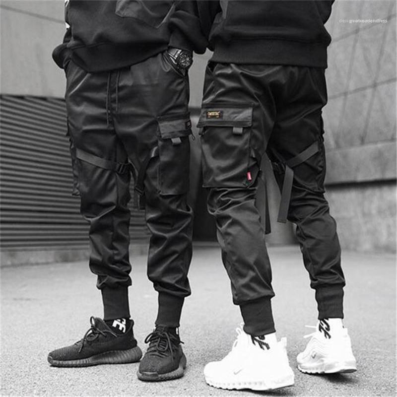 Corredores de Harajuku Sweatpant Hip Hop Pantalones para hombre diseñador de los hombres Cintas Ropa Pantalones de carga de bolsillo del bloque del color Negro Harem