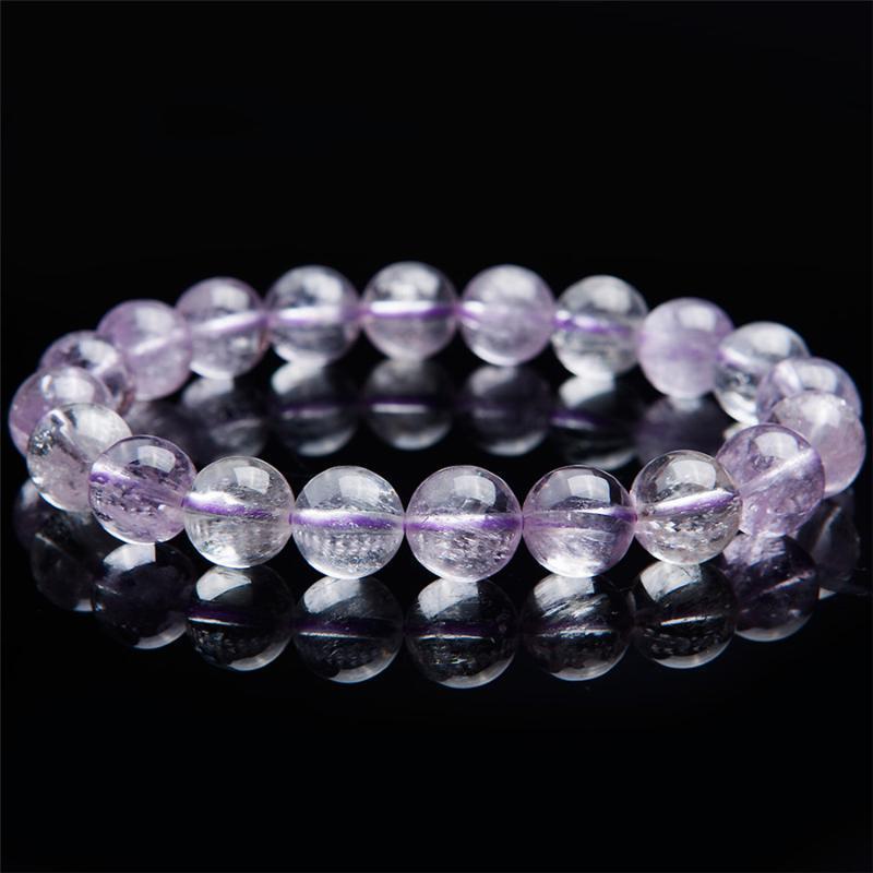 10mm naturel violet kunzite gemmes de quartz cristal étirement clair bracelets de perle ronde pour femmes femme