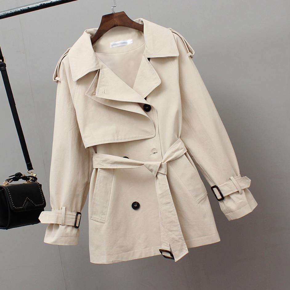 2020 donne breve Trench Primavera Windbreaker cappotti allentati casuali Safari Abbigliamento Moda collare del basamento coulisse Femminile Trench T200907