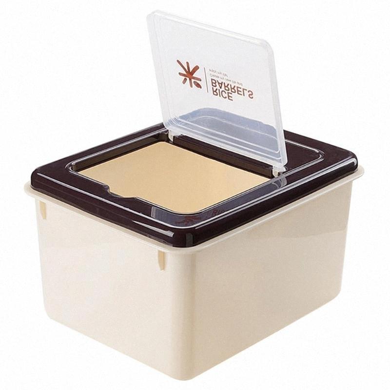 Multifuncional 10 kg de arroz Arroz cubo de plástico de contenedores a prueba de humedad a prueba de insectos del grano sellado del recipiente de almacenamiento para la cocina Restau 5Ig4 #