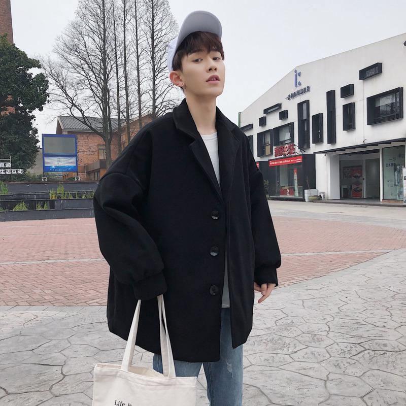 Moda inverno spesso corto corto di lana del cappotto degli uomini di colore solido casuale giacca di lana Uomini Via allentato cappotto maschile cappotto