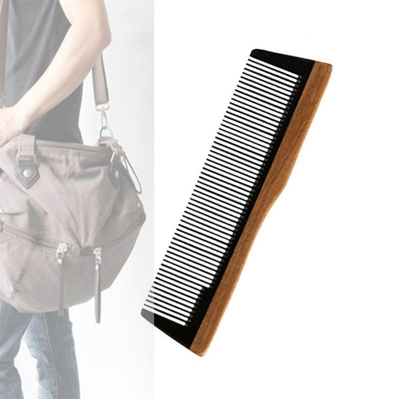 Brand New 10pcs/lot Pocket Hair Beard Comb Sandalwood Body Buffalo Horn Fine Tooth Hair Care & Styling Tool Anti Static Company