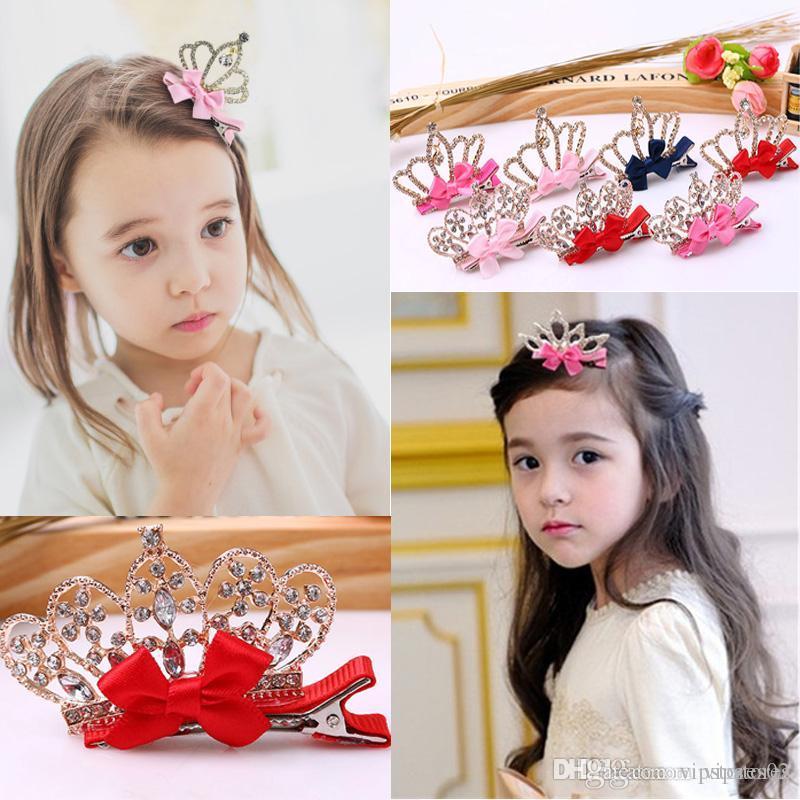 Koreanische Prinzessin Blumenkrone Haarclips Diamant-Krone Spangen Baby Haarbögen Mädchen Kristallbowknot-Krone Haarspange Pin Zubehör für Kind