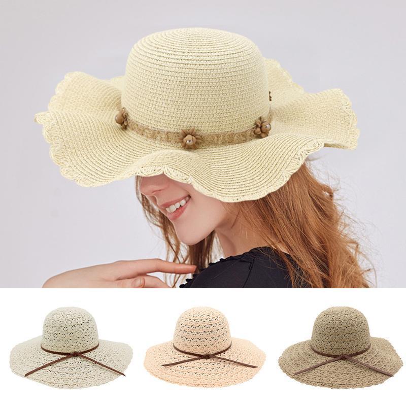 2020 della signora casuale di nuova estate di Cappello di paglia dei cappelli di Sun della protezione di estate beachwear pieghevole di Sun del cappello sombrero #C