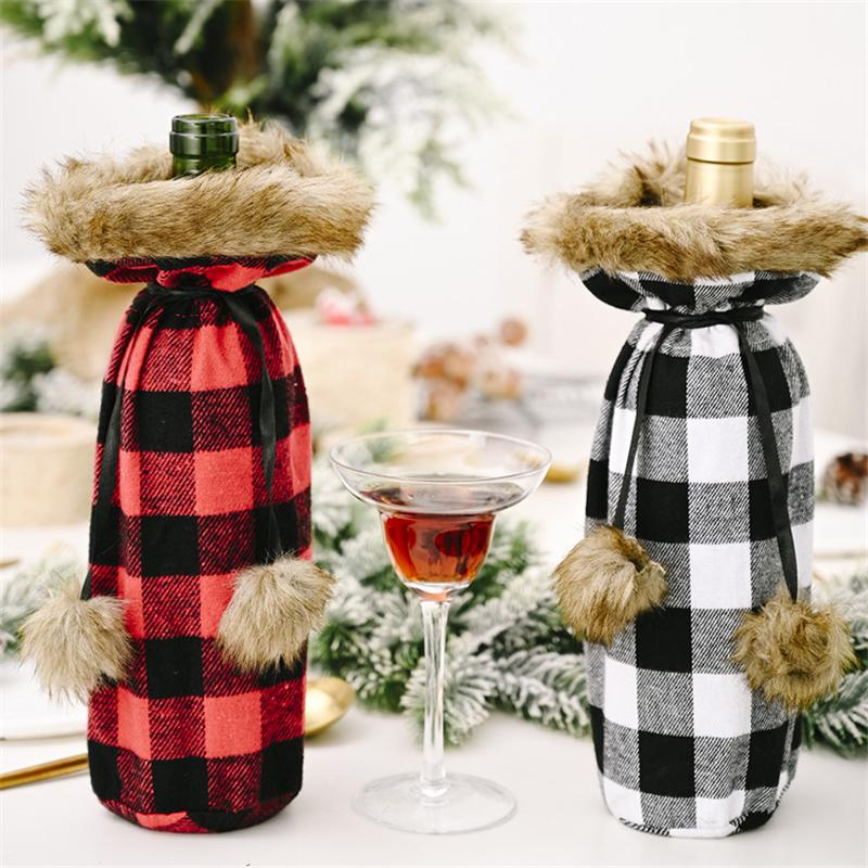 Buffalo Plaid bouteille de vin couverture décoratif revers en fausse fourrure chandail bouteille de vin Holder Sacs cadeaux Parti Ornement GWD1779