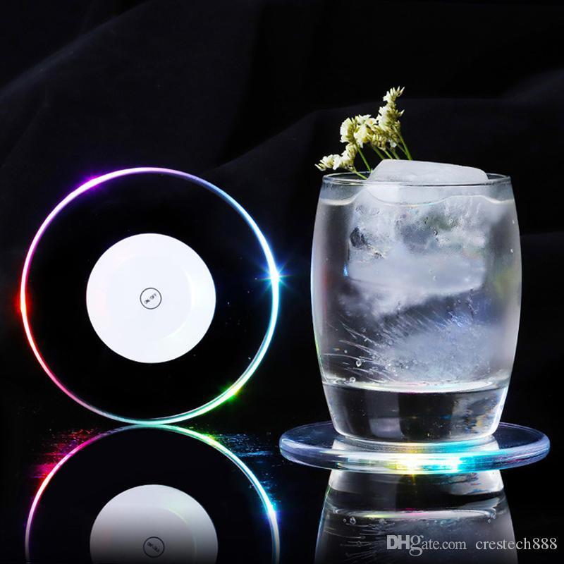 Beyaz renkli ışık su geçirmez ışık up coaster fincan tutucu mat yuvarlak akrilik led aydınlık şişe içecekler coaster