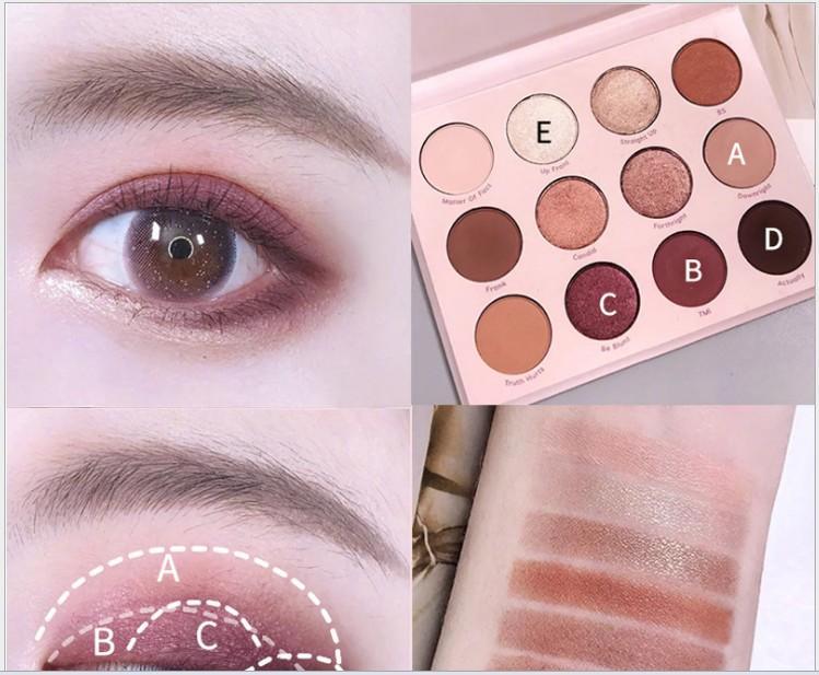 Toptan makyaj Pembe renkli göz farı diski flame12 parıltılı ve inci web ünlü makyaj
