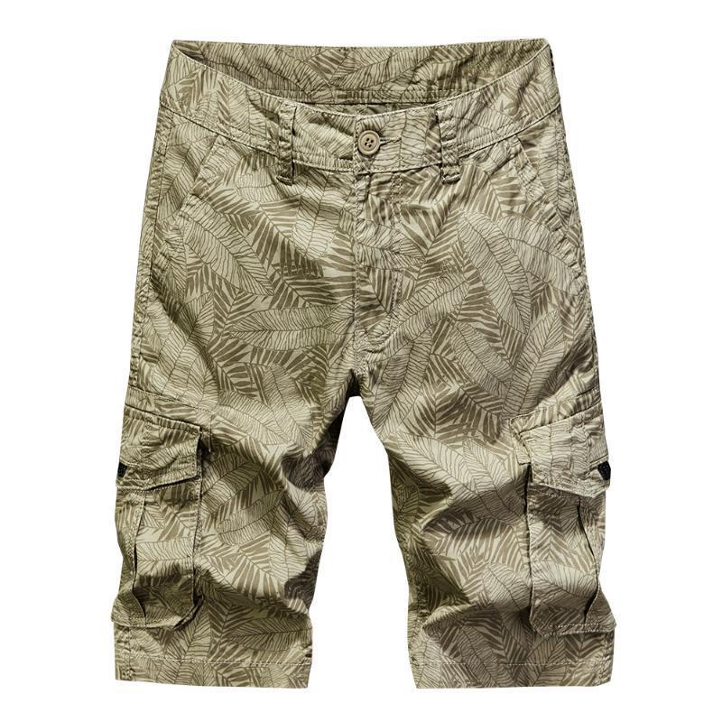 New Mens Shorts Cotton Print Cargo-Shorts Male Fashion Taschen Arbeitshosen bequeme beiläufige Knielänge Safariart