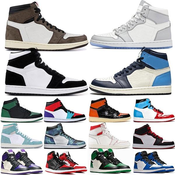 Top Jumpman 1 Mens Basketball Shoes 1s Royal Toe Pine Green Court Purple Obsidian Tie Dye Smoke Grey Womens Sports Sneakers Size 36-46