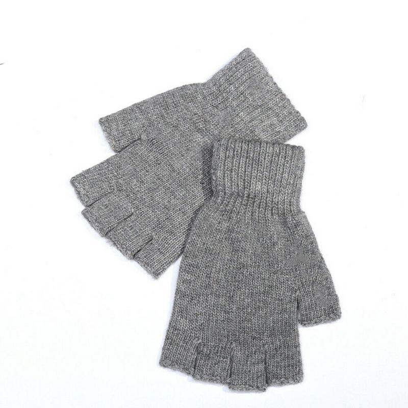 Yeni Moda Kadınlar Bayanlar Yumuşak Yarım Parmak Eldiven Kış Isıtıcı Örme Eldivenler Parmaksız Eldiven Siyah Gri Kahverengi Lacivert