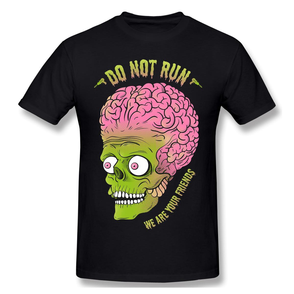 alien T-Shirts Hauts T-shirts en coton Humorous Amis de Mars T-shirts col rond Vêtements Livraison gratuite
