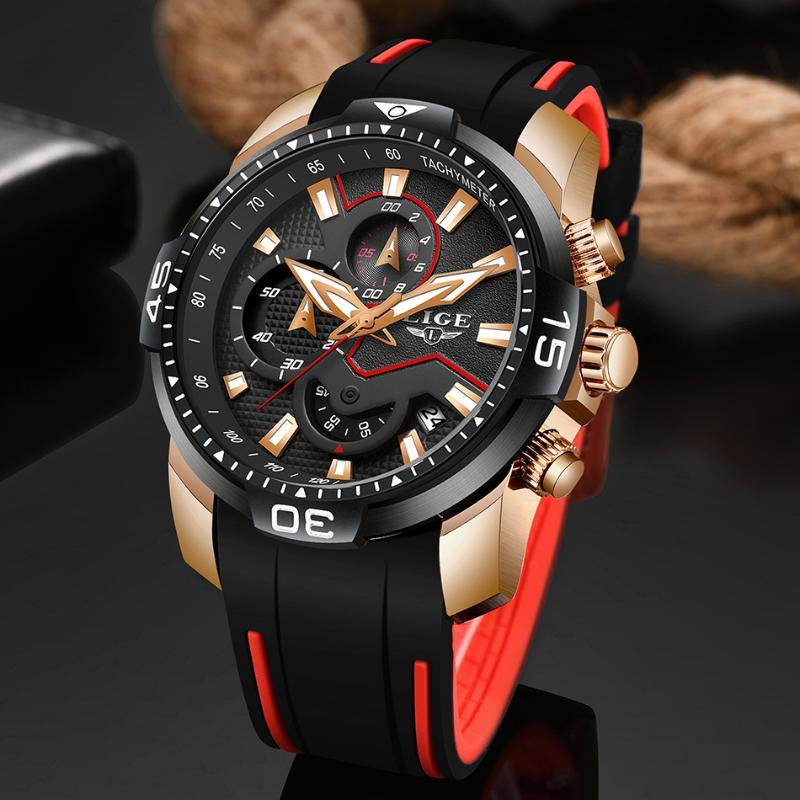 Lige Мужские часы Лучшие моды Бизнес Кварцевые часы мужские резиновые Спорт Водонепроницаемая часы Relogio Мужчина для
