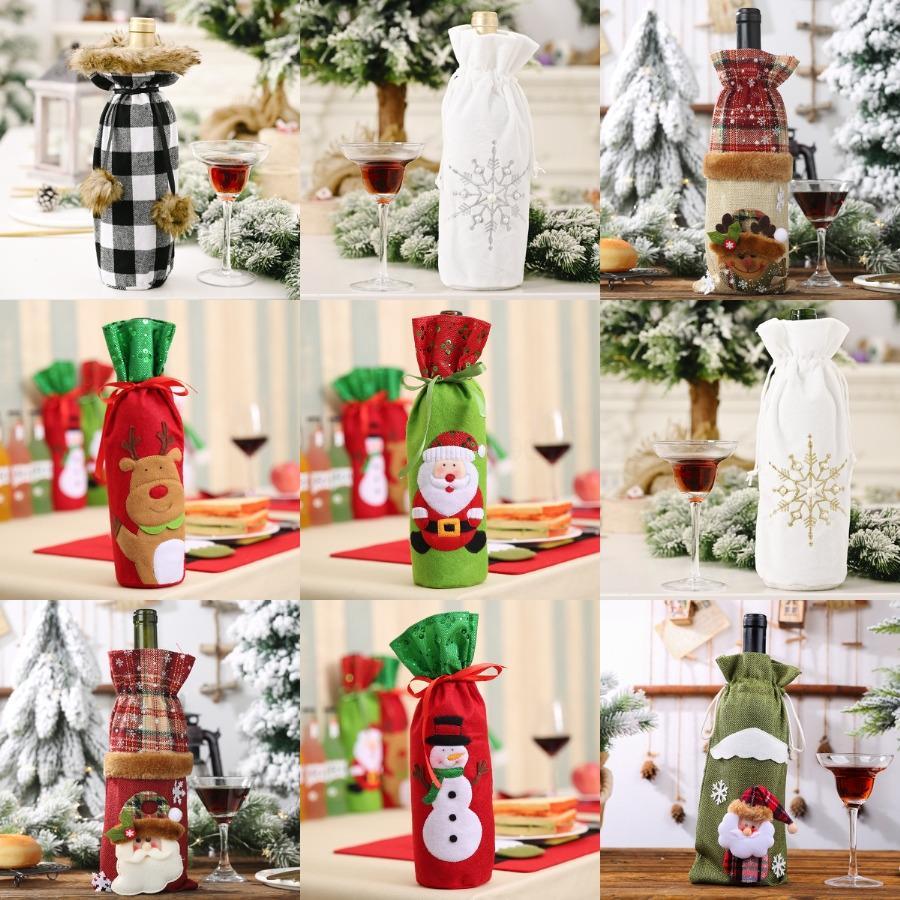 Noel Baba Şarap Şişe Kapağı Hediye Ren Geyiği kar tanesi Şişe Tut Çanta Kılıf Kardan Adam Noel Ev Dekorasyon Noel Dekor HH7-1355 # 286