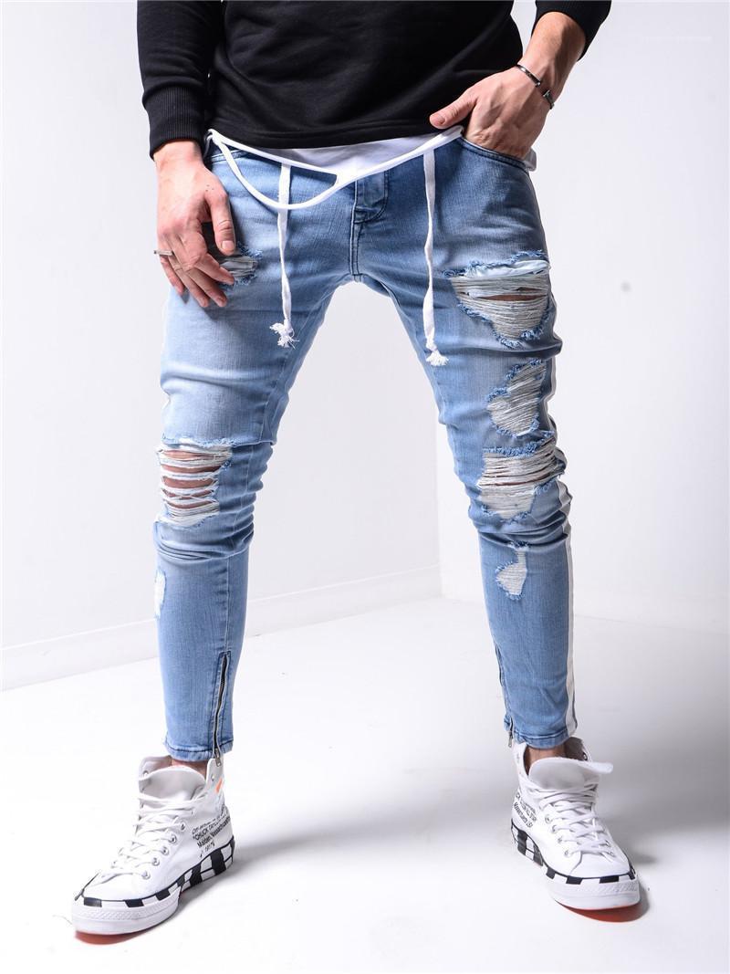 Bekleidung Designer Herren Holes Jeans Gestreifte druckte dünne Mens-Bleistift-Hosen Distrressed Männlich