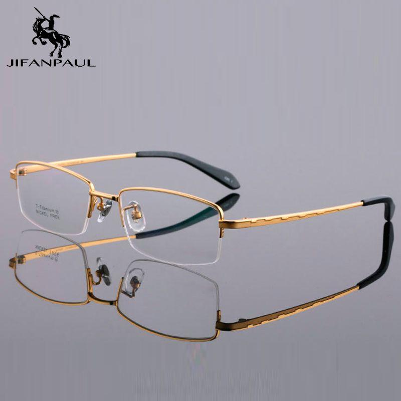 Солнцезащитные очки Jifanpaul наполовину рамки передний гибкий пластиковый висок оптические очки унисекс полный металл