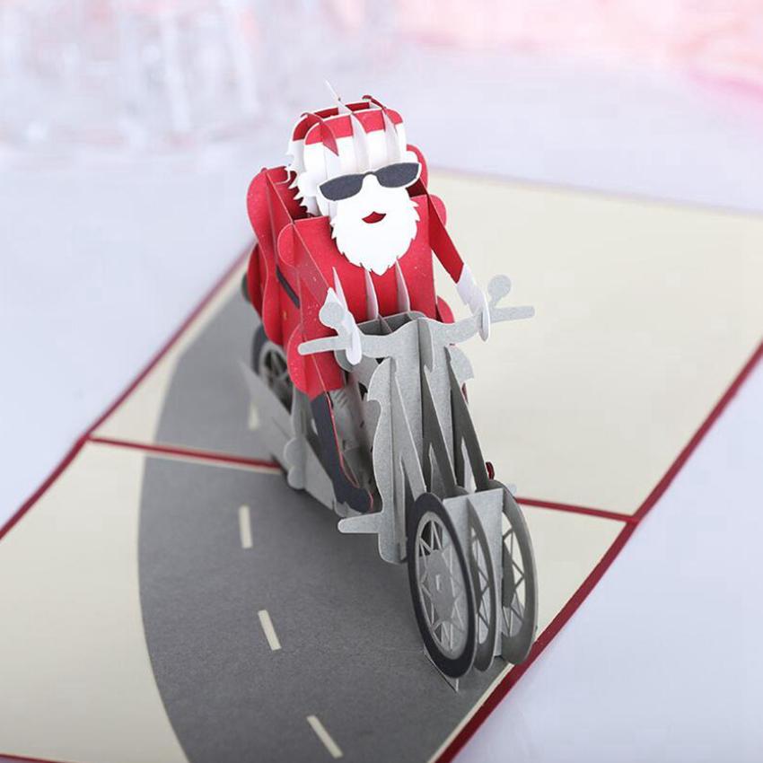 3D Handmade Christmas Greeting Cards Motorcycle Car Christmas Decorations Santa Claus Card Festive Party Gift Cards CYZ2757 50Pcs