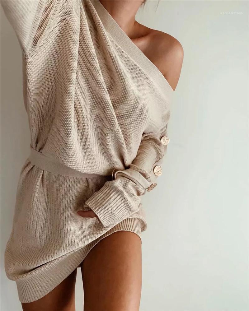 Mode une épaule Robe en maille Designer Femmes Pull sexy Vêtements pour femmes Robes de luxe