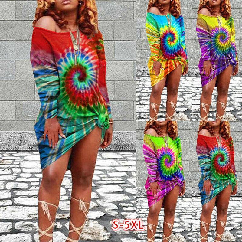 4 컬러 S-5XL 패션 여성 넥타이 염료 sundress에 느슨한 플러스 사이즈 긴 소매 기본 티 블라우스 62253791688112 탑