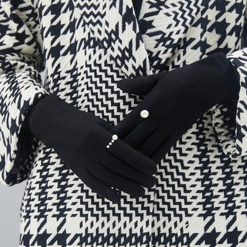 Winter High-grade Pearl Wool Warm Touch Screen Gloves Female Winter Cashmere Embroidery Thickening Driving Gloves H86