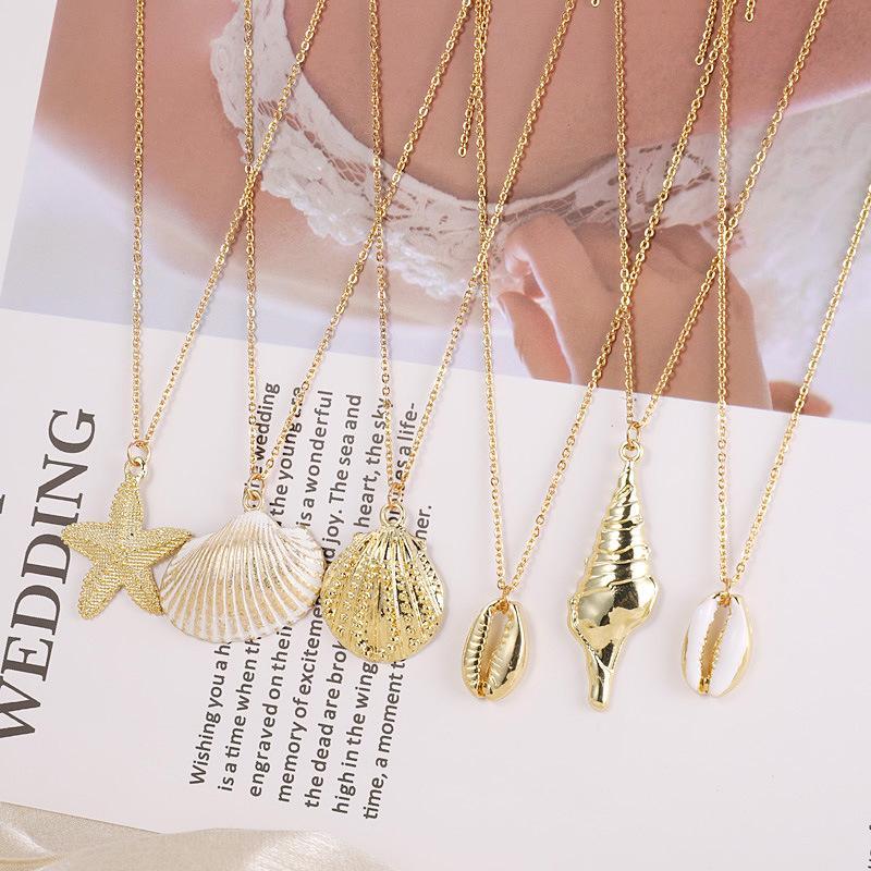 Оптовые Корпуса морского пляжа BOHO Морская звезда Раковина из нержавеющей стали цепь ожерелья золота шарма цепь ожерелье ювелирных подарки для женщин