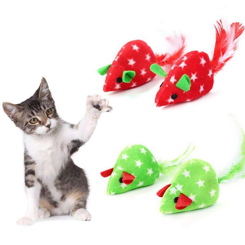 2pcs Mice Forma Pet Cat Brinquedos Catnip brinquedo interativo Kitten LX9C Toy Natal